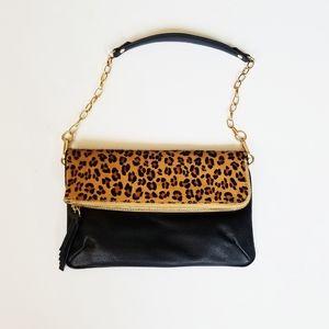 Ora Delphine Cheetah Leopard Black Leather Bag